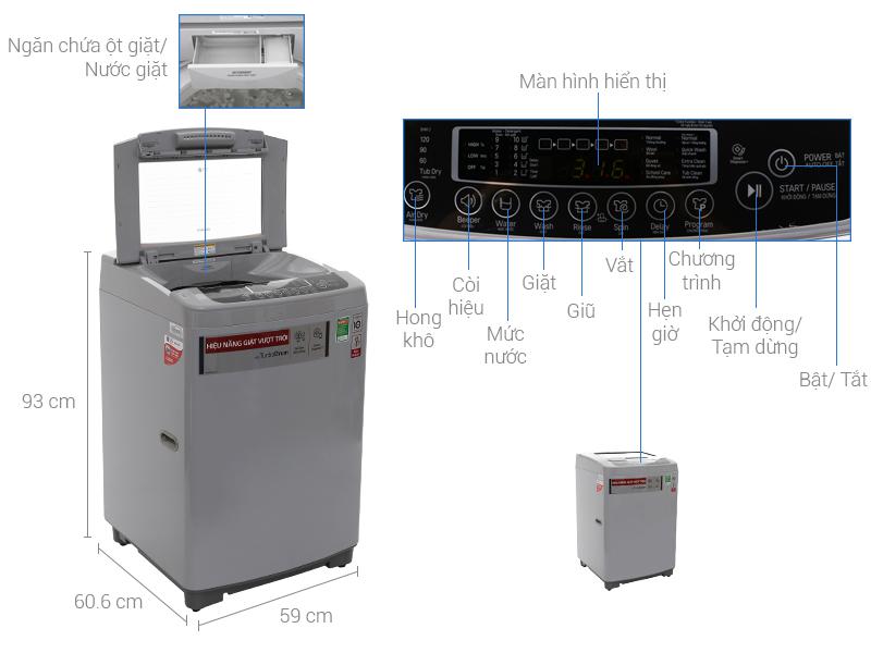 Thông số kỹ thuật Máy giặt LG Inverter 9.5 kg T2395VSPM