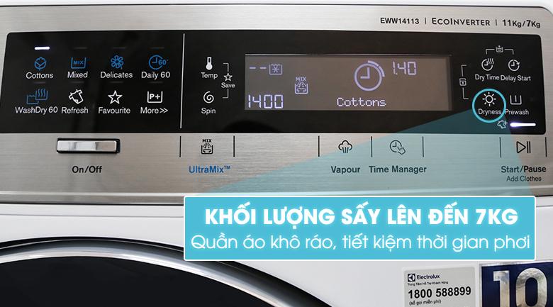 Chức năng sấy - Máy giặt sấy Electrolux inverter 11 kg EWW14113