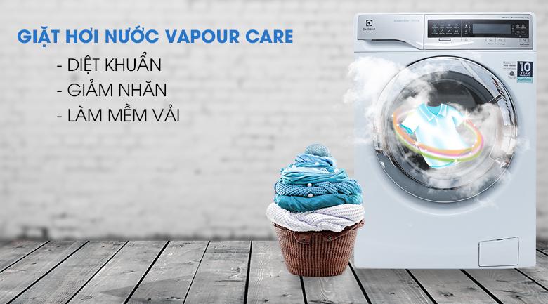 Giặt hơi nước Vapour Care - Máy giặt sấy Electrolux inverter 11 kg EWW14113