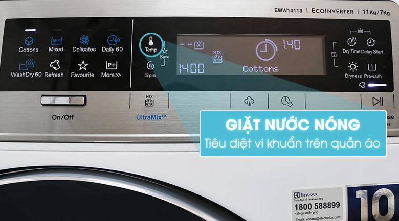 chức năng giặt nước nóng