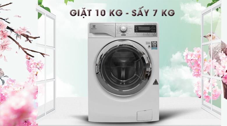 Khối lượng giặt 10 kg - sấy 7 kg - Máy giặt sấy Electrolux inverter 10 kg EWW14023