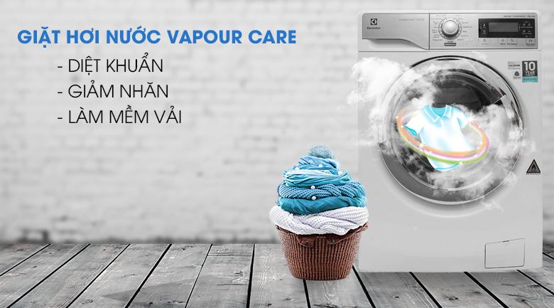 Giặt hơi nước Vapour Care - Máy giặt sấy Electrolux inverter 10 kg EWW14023
