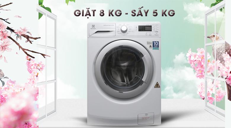 Khối lượng giặt - Máy giặt sấy Electrolux Inverter 8 kg EWW12853