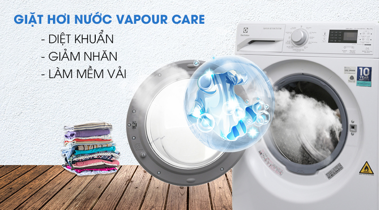 Giặt hơi nước Vapour Care - Máy giặt sấy Electrolux Inverter 8 kg EWW12853