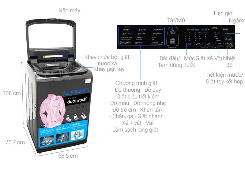 Thông số kỹ thuật Máy giặt Samsung Inverter 18 kg WA18M8700GV/SV