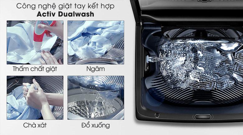 Công nghệ giặt Activ Dualwash - Máy giặt Samsung Inverter 18 kg WA18M8700GV/SV
