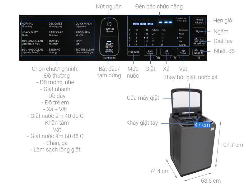 Thông số kỹ thuật Máy giặt Samsung Inverter 21 kg WA21M8700GV/SV