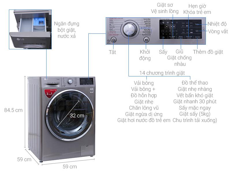 Thông số kỹ thuật Máy giặt sấy LG inverter 9kg FC1409D4E