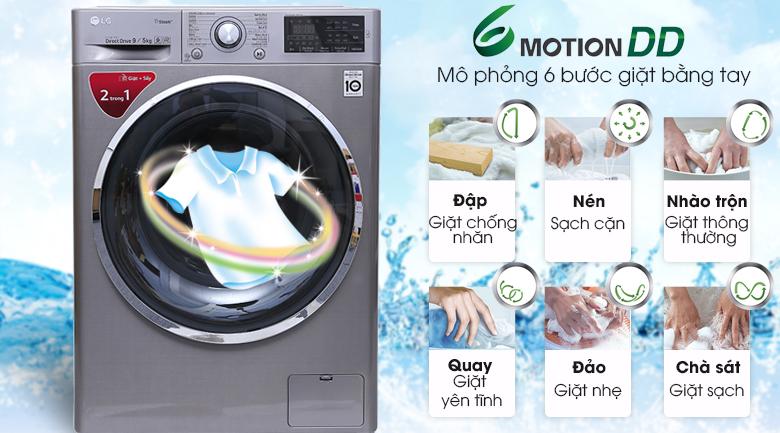 Công nghệ giặt 6 chuyển động - Máy giặt sấy LG Inverter 9kg FC1409D4E
