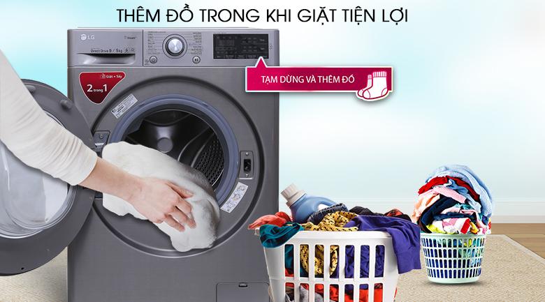 Thêm đồ trong khi giặt - Máy giặt sấy LG Inverter 9kg FC1409D4E