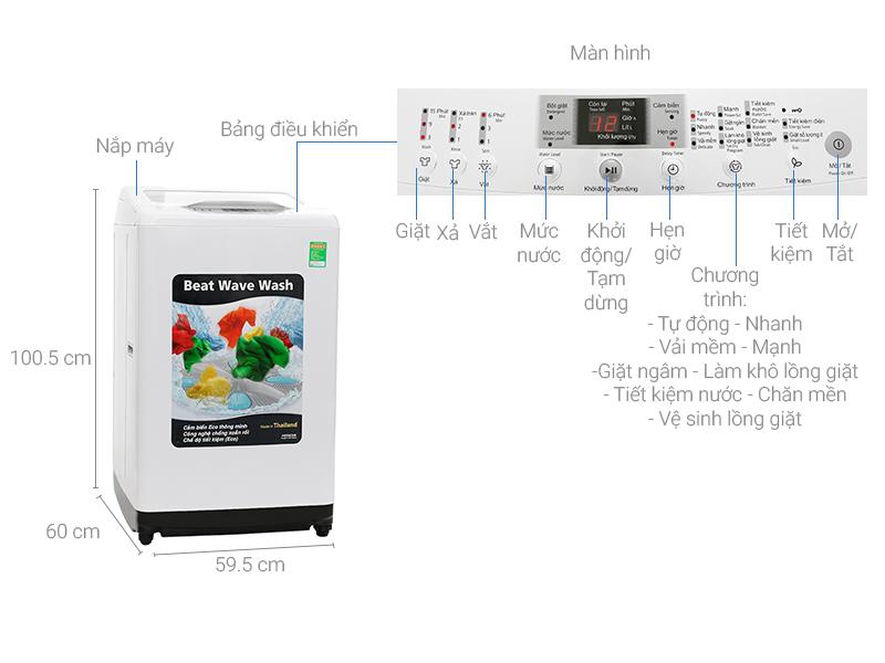 Thông số kỹ thuật Máy giặt Hitachi 8kg SF-80XA 220-VT (WH)