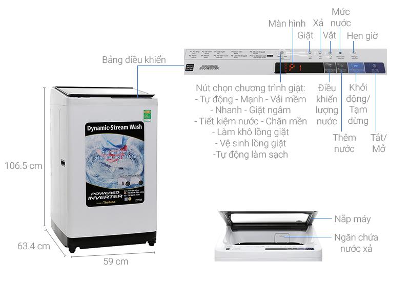 Thông số kỹ thuật Máy giặt Hitachi Inverter 10 kg SF-100XAV 220-VT (WH-B)