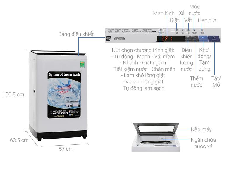 Thông số kỹ thuật Máy giặt Hitachi inverter 11 kg SF-110XAV 220-VT (WH-B)