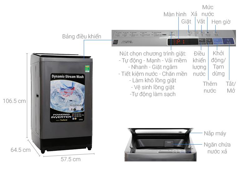 Thông số kỹ thuật Máy giặt Hitachi inverter 14 kg SF-140XAV 220-VT (SL)