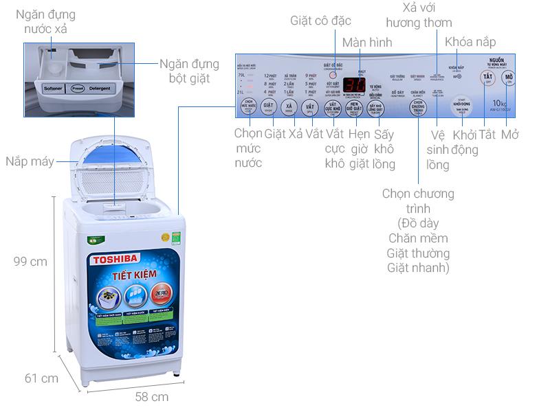 Thông số kỹ thuật Máy giặt Toshiba 10 kg AW-G1100GV WB