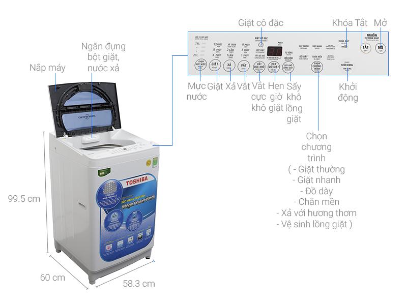 Thông số kỹ thuật Máy giặt Toshiba 9.5 kg G1050GV (WB)