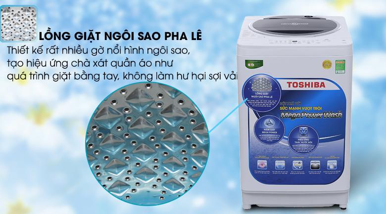 Lồng giặt ngôi sao pha lê - Máy giặt Toshiba 9.5 kg G1050GV (WB)