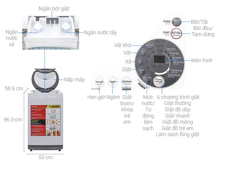 Thông số kỹ thuật Máy giặt Sharp 7.8 kg ES-U78GV-H
