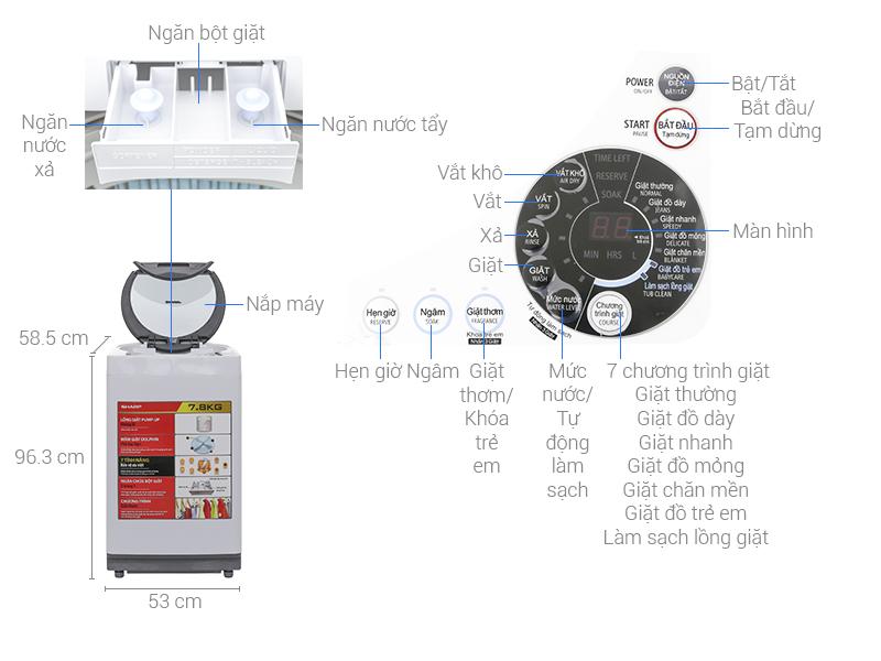 Thông số kỹ thuật Máy giặt Sharp 8 kg ES-U80GV-H