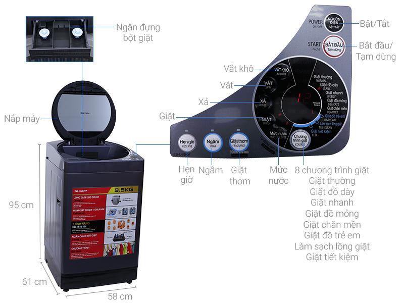 Thông số kỹ thuật Máy giặt Sharp 9.5 kg ES-U95HV-S