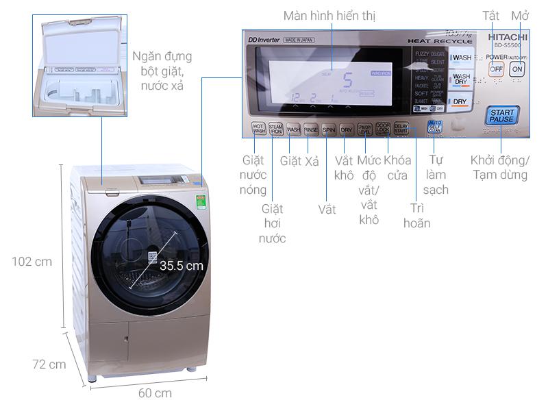 Thông số kỹ thuật Máy giặt sấy Hitachi 10.5 kg BD-S5500 (N)