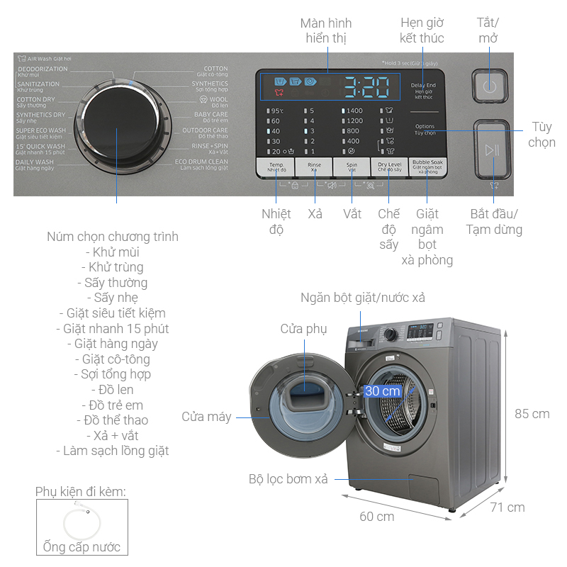 Thông số kỹ thuật Máy giặt sấy Samsung AddWash Inverter 8.5 kg WD85K5410OX/SV