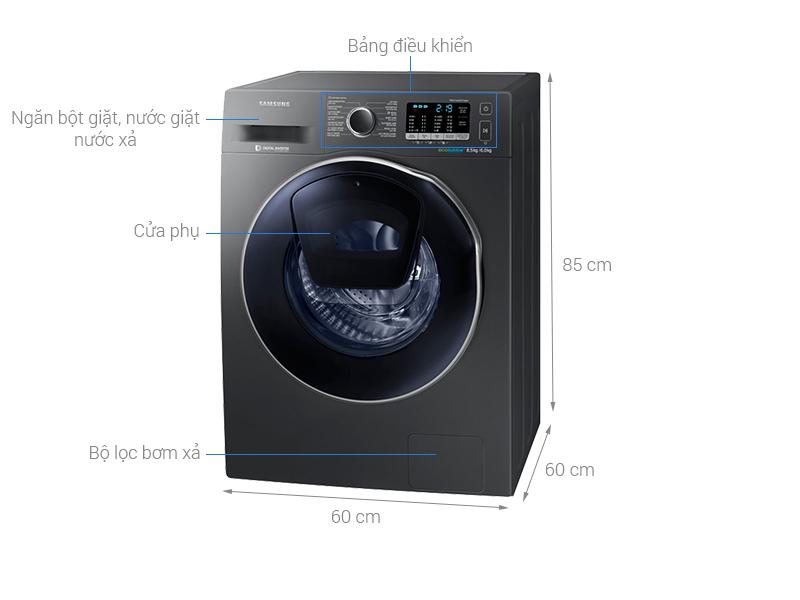 Thông số kỹ thuật Máy giặt sấy Samsung AddWash Inverter 8 kg WD85K5410OX/SV