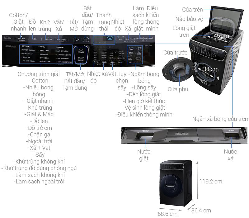Thông số kỹ thuật Máy giặt sấy Samsung 21 kg FlexWash WR24M9960KV/SV