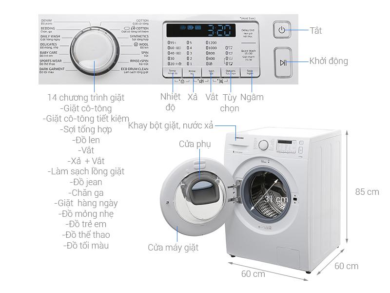Thông số kỹ thuật Máy giặt Samsung AddWash Inverter 8 kg WW80K5233YW/SV