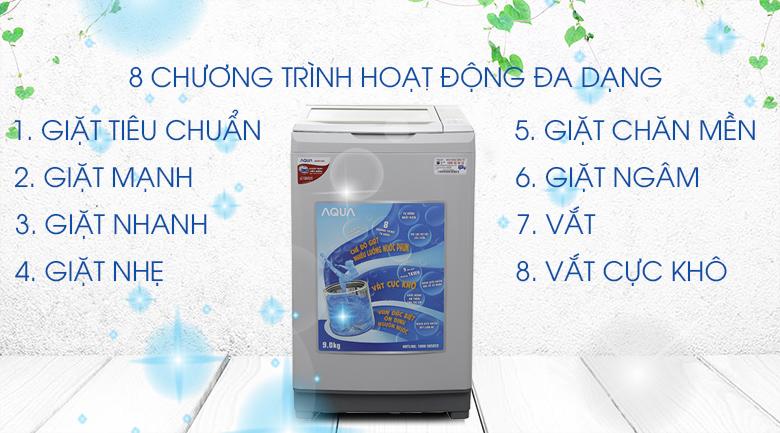 8 chương trình hoạt động đa dạng - Máy giặt Aqua 9 kg AQW-S90AT