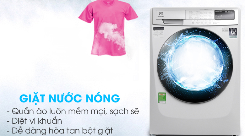 Công nghệ giặt nước nóng - Máy giặt Electrolux Inverter 9kg EWF12944