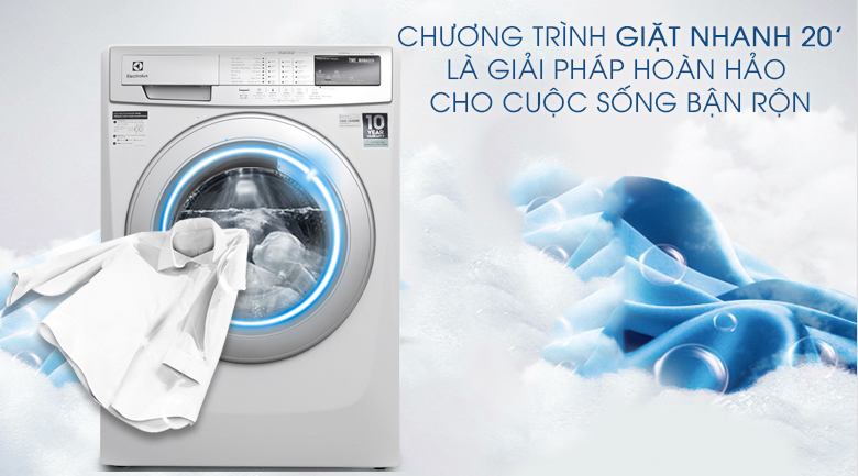 Chương trình giặt nhanh 20 phút - Máy giặt Electrolux Inverter 9kg EWF12944