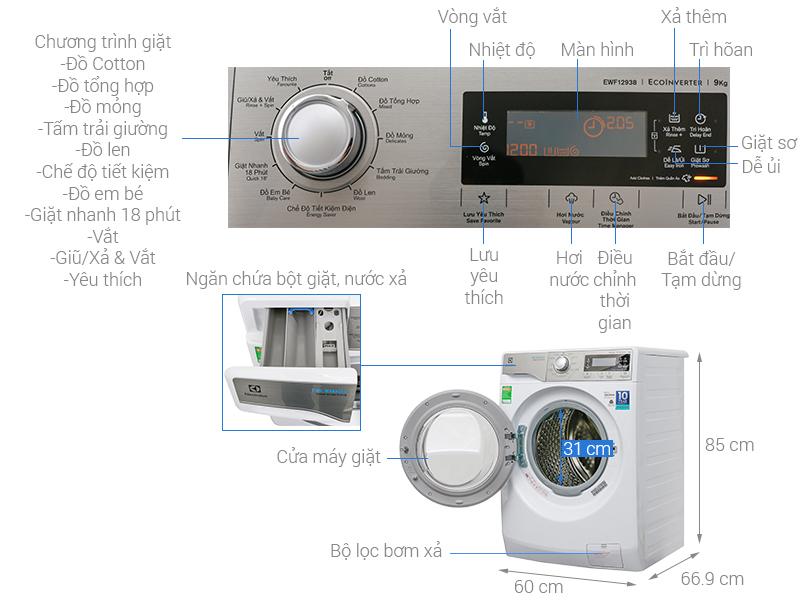 Thông số kỹ thuật Máy giặt Electrolux Inverter 9 kg EWF12938