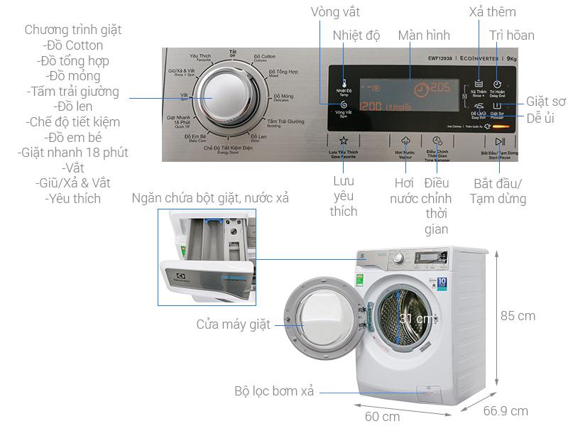 Thông sỠkỹ thuật Máy giặt Electrolux Inverter 9 kg EWF12938