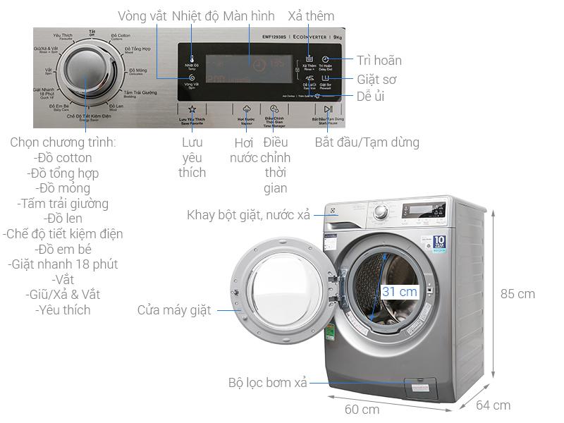 Thông số kỹ thuật Máy giặt Electrolux Inverter 9kg EWF12938S