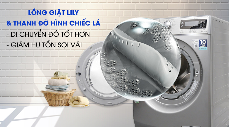 Lồng giặt Lily & thanh đỡ hình chiếc lá - Máy giặt Electrolux Inverter 9kg EWF12938S