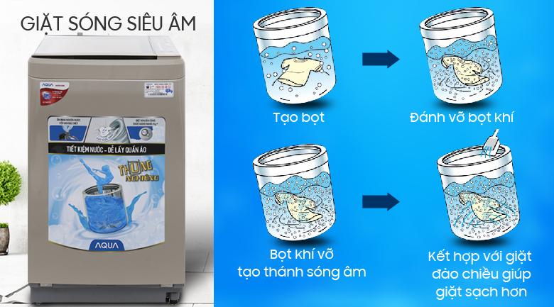 Giặt sóng siêu âm - Máy giặt Aqua 8 kg AQW-F800BT N