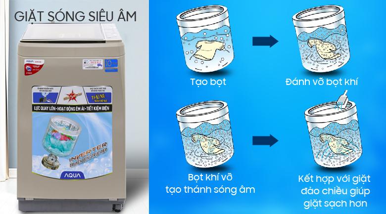 Công nghệ giặt sóng siêu âm - Máy giặt Aqua Inverter 9 kg AQW-D901BT N
