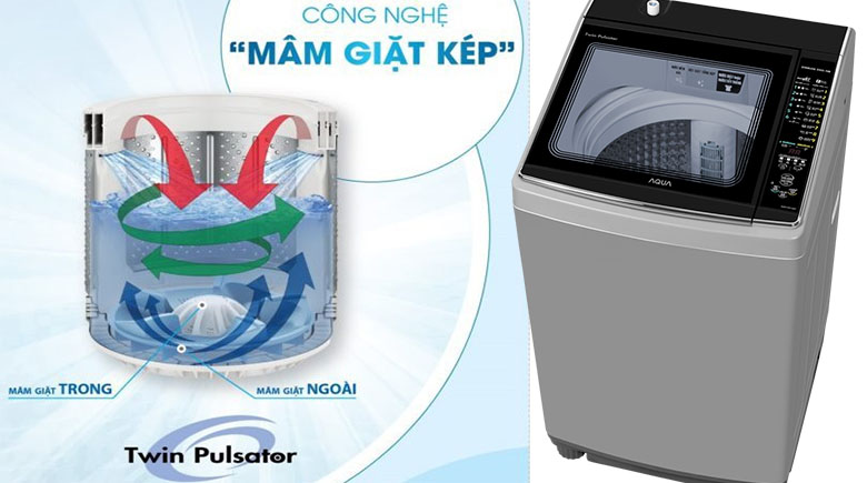 Mâm giặt kép Twin Pulsator - Máy giặt Aqua 10.5 kg AQW-FW105AT S