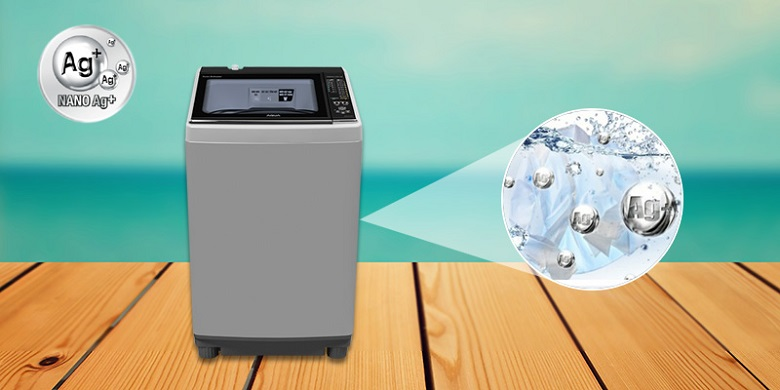 Diệt khuẩn, khử mùi Nano Ag+ - Máy giặt Aqua 10.5 kg AQW-FW105AT S