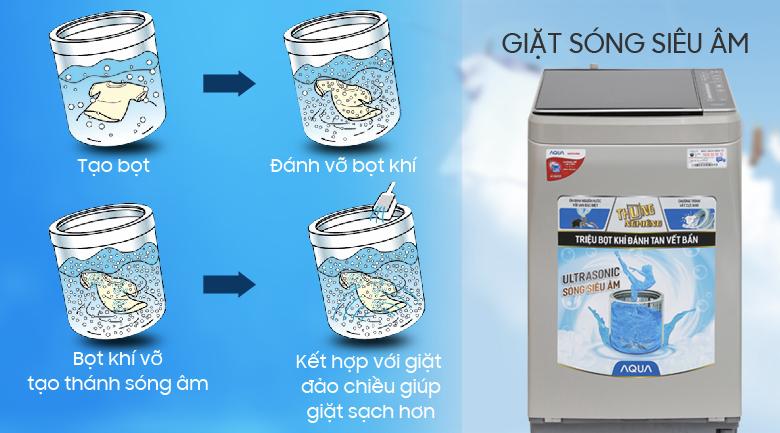Giặt sóng siêu âm - Máy giặt Aqua 8.5 kg AQW-U850BT S