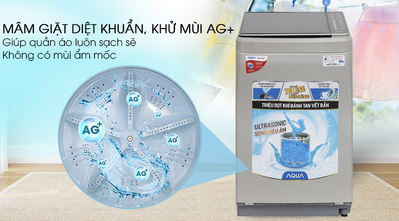 Máy giặt Aqua 8.5 kg AQW-U850BT S - Công nghệ Nano Ag+