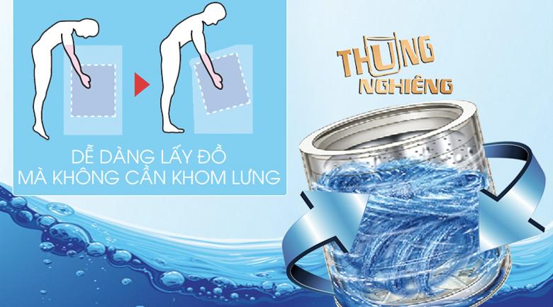 Thiết kế lồng giặt nghiêng dễ dàng sử dụng