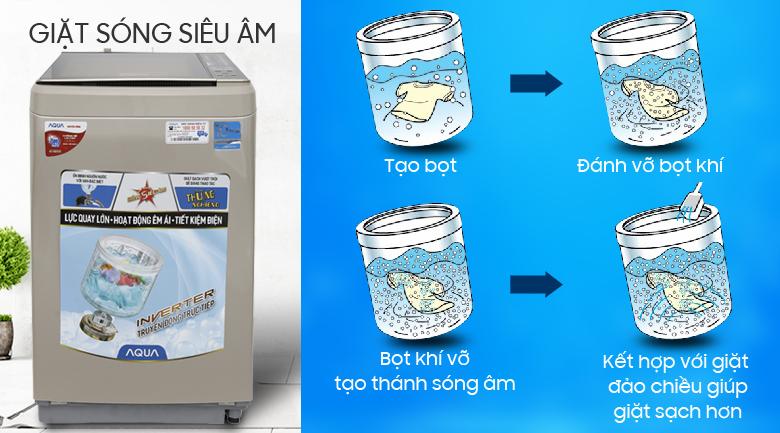 Giặt bằng sóng siêu âm - Máy giặt Aqua Inverter 9 kg AQW-D900BT N