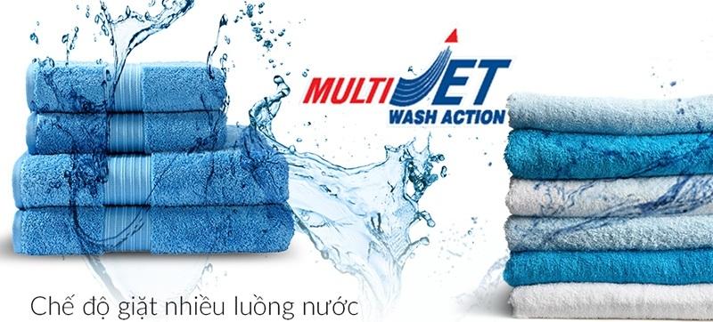 Loại bỏ hoàn toàn cặn bột giặt gây kích ứng da nhờ chế độ giặt nhiều luồng nước phun MultiJet