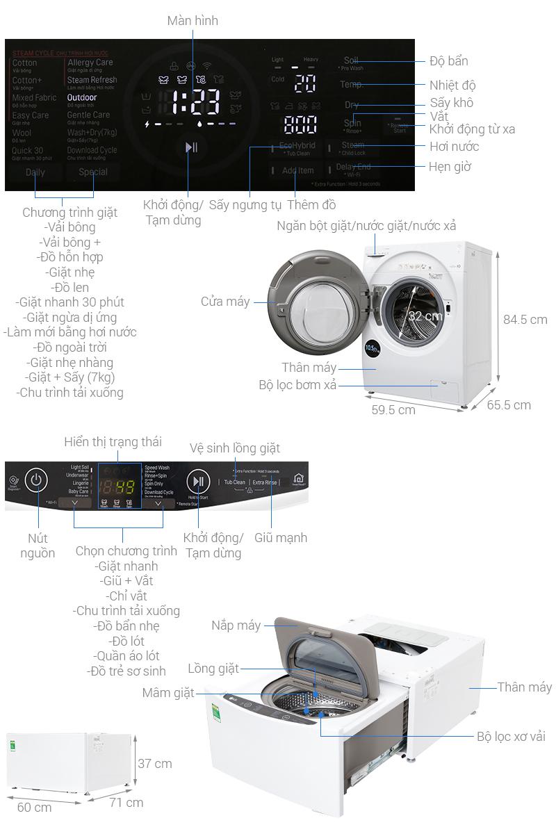Thông số kỹ thuật Máy giặt LG TWINWash Inverter FG1405H3W & TG2402NTWW