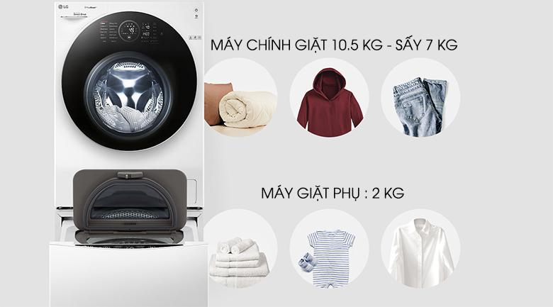 Hai lồng giặt riêng biệt - Máy giặt LG Twinwash FG1405H3W & TG2402NTWW