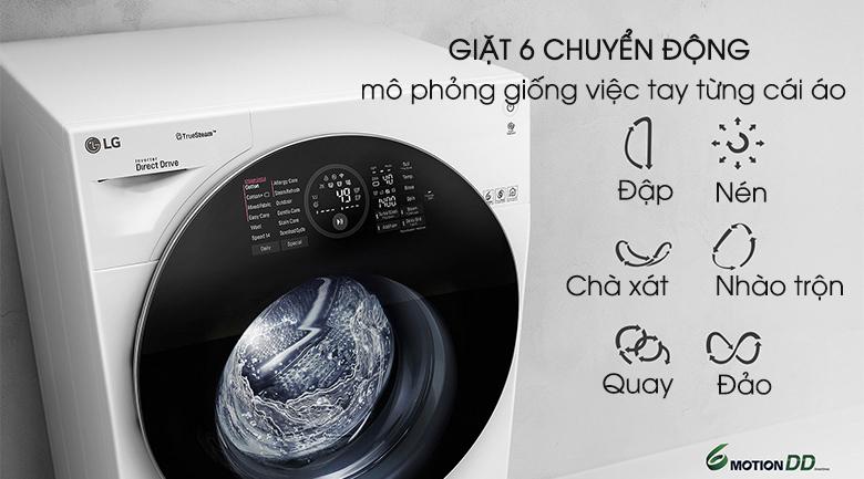 Công nghệ giặt 6 chuyển động - Máy giặt LG Twinwash FG1405H3W & TG2402NTWW