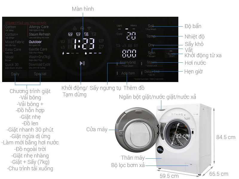Thông số kỹ thuật Máy giặt sấy LG Inverter 10.5 kg FG1405H3W
