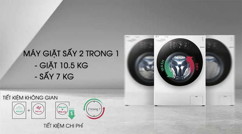Máy giặt sấy 2 trong 1 - Máy giặt sấy LG Inverter 10.5 kg FG1405H3W